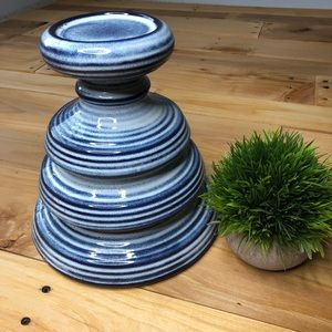 Other - Chunky tall pedestal candle holder ceramic